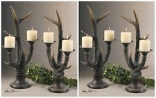 FOUR HOME DECOR RUSTIC DEER ELK HORN LOOK PILLAR CANDLE HOLDERS WESTERN CABIN