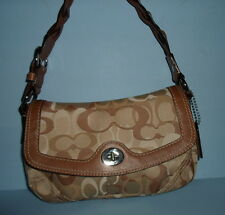 Authentic COACH Handbag PURSE~Brown& Gold~Braided Hdl~4-pocket~LEATHER&COTTON