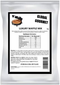 Global Gourmet Luxury Belgian Style Waffle Mix 1KG Complete Ready Mix– for Bel