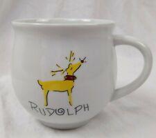 Pottery Barn Reindeer Coffee / Tea Cups / Mugs Rudolph Xmas Christmas Retired