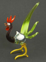 """Blown Glass """"Murano"""" Art Figurine Bird ROOSTER with nice Green Tail"""