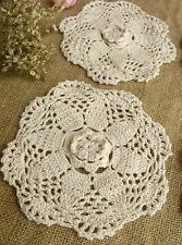 "6PCS Lot  -Vtg HAND Crochet Lace Doily Rounds Scalloped Ecru ROSETTE- Wedding 6"""