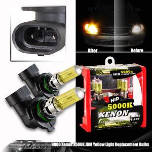 2x Universal 9006 HB4 Xenon Yellow 2500K 55w Halogen Low Beam & Fog light Bulbs