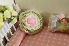 Dollhouse Miniature Round Pillow Handmade Romantic Pink Rosette Mint Gold Cream