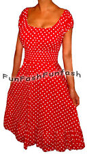 GT1 FUNFASH RED WHITE POLKA DOTS ROCKABILLY PEASANT PLUS SIZE DRESS 1X XL 16