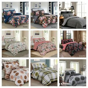 100% Cotton-Rich Printed Duvet Cover Bedding Set With Pillowcases + Fitted Sheet