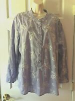 Women's Blouse Plus Size 2X Long Sleeve Embroidered Button Down Cotton Shirt