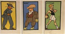 3 Postcards COLLEGE BRAND CLOTHES~Fashionable College Men Art Nouveau Style