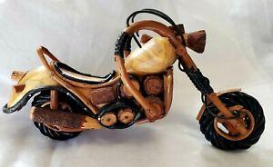 VTG One-of-a-Kind Handmade Twig Branch Wood Chopper Harley Motorcycle Folk Art