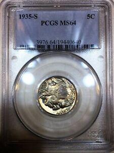1935-S Buffalo Nickel PCGS MS64 Beautiful Coin Rare Date