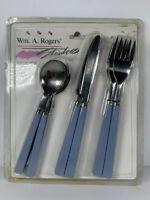 Stainless Dinner Utensils Vtg MCM Blue Spoon Knife Fork 12pc NIP Wm A Rogers