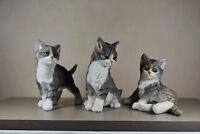 Katzen im 3er Set Katze Baby Kinder Gartenfigur Dekoration Tierfigur Figur