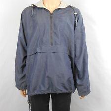 Men's London Fog 1/2 Zip Nylon Windbreaker Hood Jacket Greyish Blue Size L Reg