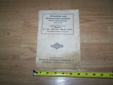 BRIGGS & STRATTON PARTS CATALOG, OPERATING AND MAINTENANCE MANUAL N NP NPR NPR-4