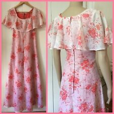 VINTAGE 60's 70's Floaty MAXI HOSTESS DRESS Frilled WATERMELON FLORAL