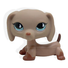 #518 Littlest Pet Shop Puppy Dog Dachshund Tan Brown w/ Blue Teardrop Eyes LPS