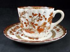 Spode INDIAN TREE-ORANGE/RUST Flat Cup & Saucer Vintage 2/959 A+ CONDITION