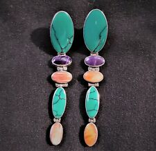 """Turquoise, Spiny Oyster, Sugilite Sterling Earrings - 2.75"""" Long Dangles Posts"""
