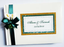 PERSONALISED WEDDING GUEST BOOK WITH LILIES (GREEN AND GOLD) - ANY COLOUR