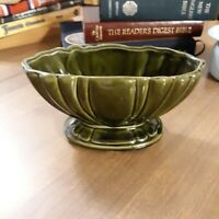 Vintage Planter Ceramic Pottery Avocado Green Design Footed Bottom
