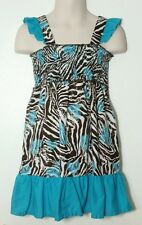 Girls, Animal Print & blue Dress, Excellent Condition, Size: 5