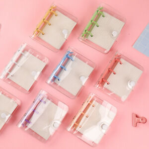 Kawaii Mini 3 Holes Binder Notebook Clear Cover Planner Journal Book Stationery