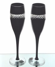 2 Waterford John Rocha Black Cased cut to clear Wine Champagne Flutes Goblet New