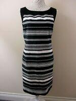 W by BHS shift dress size 20 black white stripes & dots back split unusual smart