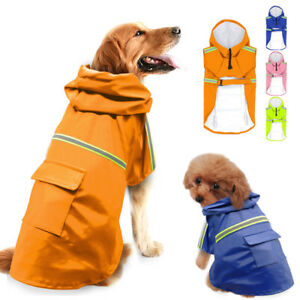 S-5XL Dog Raincoat Waterproof Doggie Rainwear Reflective Jacket Clothes Hoodie