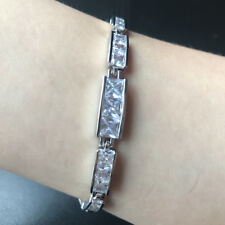 """7.25"""" Square Cubic Zirconia CZ Tennis White Gold Filled Bracelet Chain Gift"""