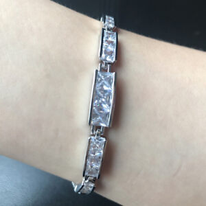 "2pcs 7"" Square Cubic Zirconia CZ Tennis White Gold Filled Bracelet Chain Gift"