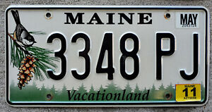 """Maine """"Chickadee and Pine-Cone"""" License Plate with a 2011 Sticker"""