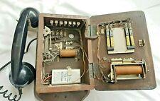 Unique Antique Vintage Wooden Long Distance Railway Telephone - Restorable