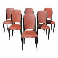 1940s Vintage French Art Deco Solid Ebony Dining Chairs- Set of 6