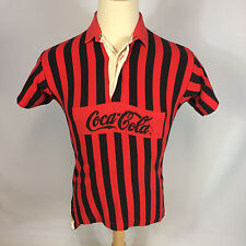 Vintage Coca Cola Surf Beach Stripe Polo Rugby Shirt 80's Color Block Volleyball
