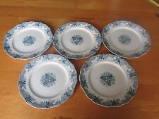 5 John Maddock  & Sons Blue (with a hint of green) Majestic Dinner Plates