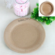 BROWN KRAFT PAPER VINTAGE SHABBY CHIC PARTY LARGE 23CM LUNCHEON PLATES 12PK