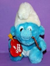 """7"""" SMURF CUPID 1983 Angel Wings I LOVE YOU Heart Arrow Plush Toy BRIGHT COLORS"""