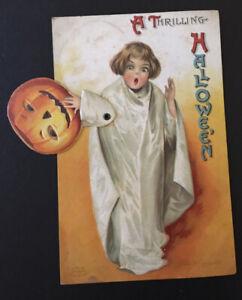 Early Mechanical Ellen Clapsaddle Signed Halloween Postcard Jack O Lantern