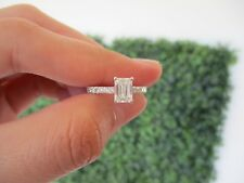 1.32 CTW Emerald Cut Diamond White Gold Engagement Ring 18k codeER149 sep