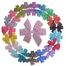 """3.5"""" Girls Toddlers Kids Multi Color Hair Bows Clip With Pattern Pack of 20"""