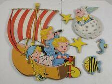 Vintage 1957 Dolly Toy Company Winken Blinken And Nod Nursery Wall Hanging