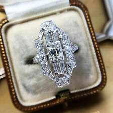Creative 925 Silver Rings Cubic Zirconia Jewelry Women Engagement Ring Size 6-10