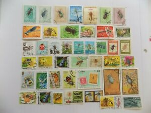 World Wide Topical Coll'n of used INSECT stamps off paper -9-14-C-We comb shipp