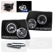 1997-2000 TOYOTA TACOMA BLACK HALO LED PROJECTOR HEADLIGHT+WHITE BUMPER DRL LAMP