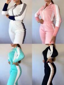 UK New Women Ladies Knit  Zip Long Sleeve Tracksuit Set 2Pcs Lounge Wear