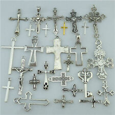 25PCS MIX Vintage Antique Silver Tone Alloy Faith Religious Cross Pendant Charm