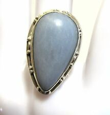 "sterling silver ring, blue grey stone, size 7 1/4, 1 1/4"" x 3/4"""