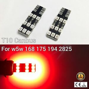 T10 194 168 2825 12961 License Plate Light Red 18 Canbus LED M1 For Cadillac A