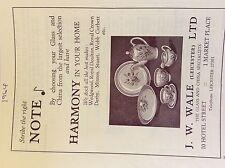 M3b ephemera 1964 advert leicester j w wale hotel street glass china
